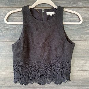 REBECCA TAYLOR | Black Lace Scallop Crop Top